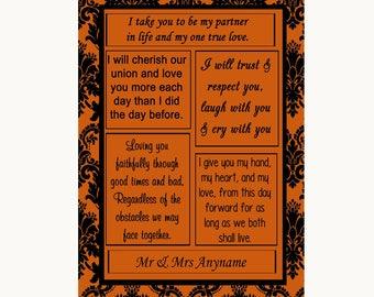 Burnt Orange Damask Romantic Vows Personalised Wedding Sign