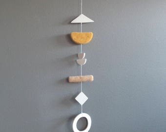 Clay and Felt Marshmallow Mobile/Wallhanging in Marigold Yellow and Peach