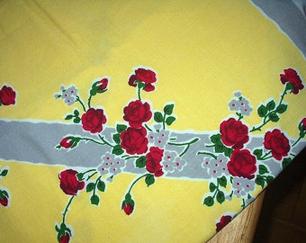 Red Rose Miniature Floral Bouquet Vintage Startex Tablecloth Canary Yellow Background Kitchen Decor or Pillow Material Fabric