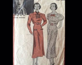 Vintage 30s Puff Sleeve Military Influence Shirtwaist Dress Sewing Pattern 1026 B34