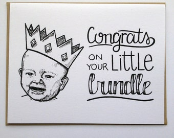 Congrats on Your Little Bundle - Hand Lettered Greeting Card for Baby Shower