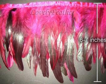 Coque feather fringe hot pink irridescent 1 feet trim