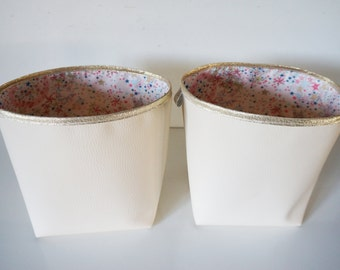 Set of 2 baskets reversible faux leather