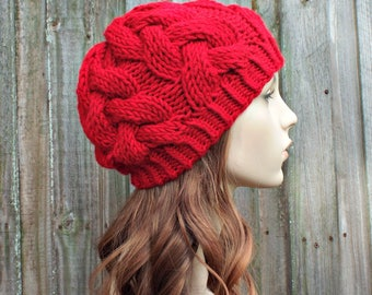 Red Knit Cable Beanie - Red Womens Beanie - Red Cable Hat Red Hat Warm Winter Hat Knit Accessories - Branch Cable Beanie