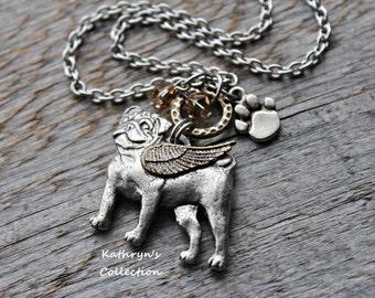 Pug Angel Necklace, Pug Jewelry, Pug Mom, Pet Memorial Jewelry, Pug Sympathy, Pug Jewelry