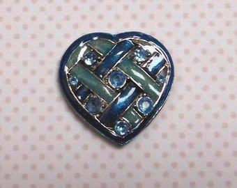 Separator/enamel heart turquoise pendant