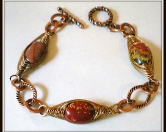 Bracelet -  Earth Tones Jasper Coin Beads, Copper Wire Herringbone Weave, Autumn Bracelet, Fall Colors Bracelet, Wire Wrapped Bracelet