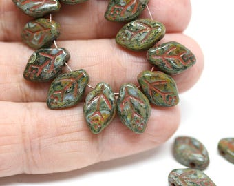 Picasso brown green leaf beads Rustic Czech glass pressed leaves 12x7mm  top drilled travertin finish Earthy color 25Pc - 1500