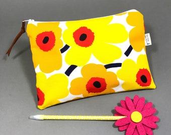 Handmade Marimekko purse,Blue Poppy cosmetic bag made from Marimekko Fabric, Zip pouch,  Makeup bag, Gift for her, Unniko, Teacher gift