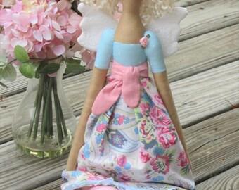 Fairy doll pixie doll Cloth doll Rag doll, Guardian Angel doll fabric doll, handmade angel doll Tilda angel doll pink roses blonde doll