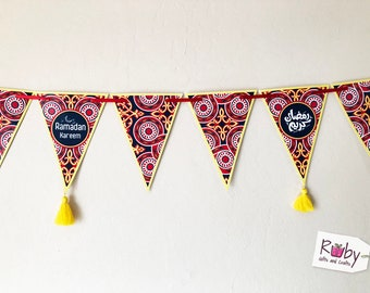 """Ramadan Banner with Egyptian tent (Khayamiya) pattern, with yellow tassels or without, 12 pennant with total length 66"""""""