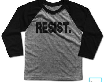 Resist. | Resist Trump | Anti Trump Shirt | Never Trump | Protest Shirt | Political Shirt | Kids Baseball T-shirt