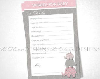 Elephant Wish Card - Pink - DIY Printable - INSTANT DOWNLOAD