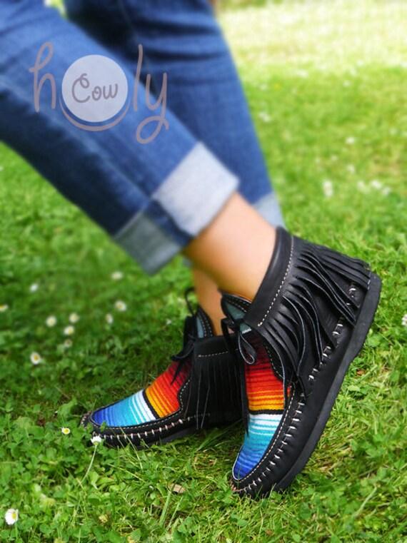 Moccasins Moccasins Womens Black Black Moccasins Boots Womens Boots Leather Serape Leather Mens Serape Boots Hippie Black Boots Black q7xwxRE