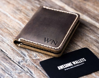 Wallet - PERSONALIZED - Mens Leather Card Wallet - Gift Ideas for Him/Her - JooJoobs Original - 010