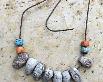 8 tribal raku ceramic beads