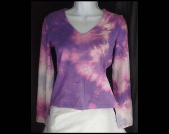 Acid washed medium shirt long sleeve Express blouse tee bleached shirt acid wash purple violet lilac pink slate grey t-shirt (shirt no. 146)
