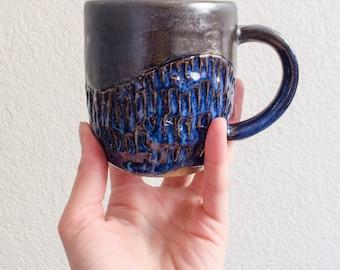 Carved Blue and Black Ceramic Mug