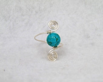 Silver and Turquoise Spiral Ring