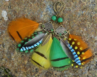 Earrings ethnic boho unique colors/jewelry / jewelry feathers Jay/stones semi precious/aventurine/ethnic boho