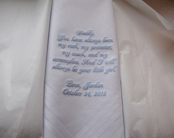 Custom Father of the Bride Embroidered Wedding Handkerchief