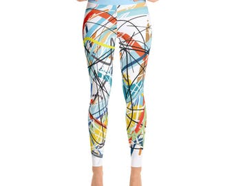 SGRIB Print Women's Fashion Yoga Leggings - xs-xl sizes - design number three - light blue waist