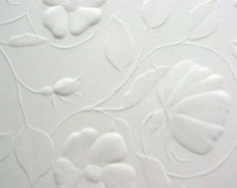 10 5.75x5.75  sheets white embossed vellum with floral pattern