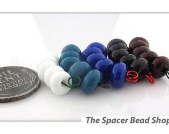 WINTER TONES Blue Black HALF Bead Sets Lampwork Spacers Glass Handmade - The Spacer Bead Shop