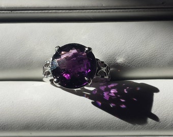 Amethyst Sterling Silver Ring, Amethyst Solitaire Ring,  Natural Gemstone, February Birthstone