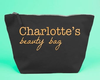 Personalised Beauty Bag / Large Zipped Make up / Toiletry Bag with Gold Glittered Text on a Black Cotton Canvas