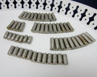 Brass Bullet Shell Casings Silver Nickel Mixed Lot of Federal 38 Special 9 mm 380 Auto Spent Bullet findings Shells Steampunk Supply (117)