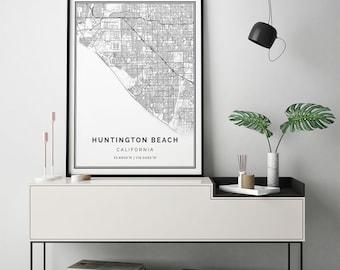 Huntington beach map Etsy