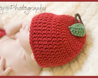 Apple Of My Eye Crocheted Cotton Hat - Great Photo Prop