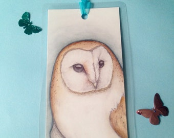 Handmade bookmark, beautiful barn owl watercolour illustration, laminated, blue ribbon, gift for book lovers readers available in 2 sizes