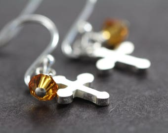 First Communion Gift for Girls, Cross Earrings with Birthstone Crystals, 925 Sterling Silver