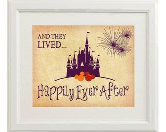 Instant Digital Download - Happily Ever After - Disney Wedding Art  -Tan, Plum, Apple Red, Orange