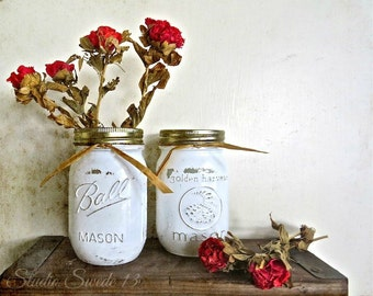 "Shabby Rose Mason Jar Print, French Country Art, Romantic Chic, Red Rose Rustic Art, Country Kitchen, Farmhouse Cottage- ""Farmhouse Roses"""