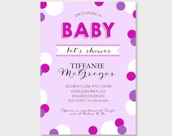 Baby Girl Shower Invitation // Customizable Baby Shower Invitation // Downloadable, Printable Invitation // Pink and Purple Shower Invite