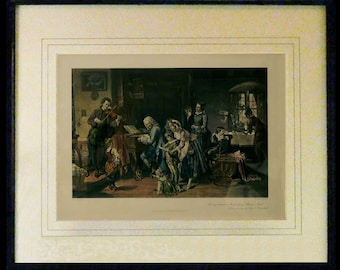 Morning Devotions in the Family of Bach - Watercolor Etching from the Painting by Toby E. Rosenthal