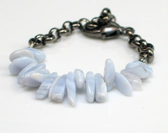Blue Lace Agate Bracelet, Pastel Blue Stones and Dark Chain Cuff, Natural Stones Cuff, Nature Fashion