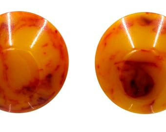 Dark Butterscotch With Red Marbled Bakelite Button Earrings