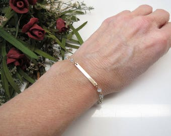 Aquamarine Bar Bracelet, March Birthstone, Sky Blue Gemstone Bracelet In 14K Gold Filled, 6-8.5 Inches, Wire Wrap Jewelry,Aquamarine Jewelry