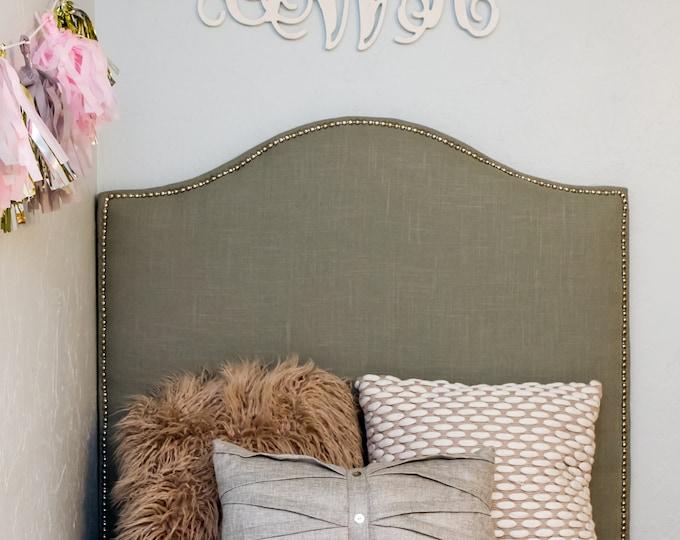 Extra Tall Dorm Headboard, Twin Headboard, Linen Fabric with Nailhead Trim, Camelback Headboard, Dorm Headboard, Dorm Decor, Kids decor