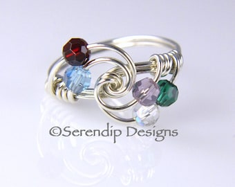 Mothers Birthstone Ring, Grandmothers Five Birthstone Ring, Argentium Sterling Silver and 5 Swarovski Birthstone Crystals mr5-4