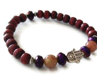 red wood stone crystal hamsa stretch bracelet