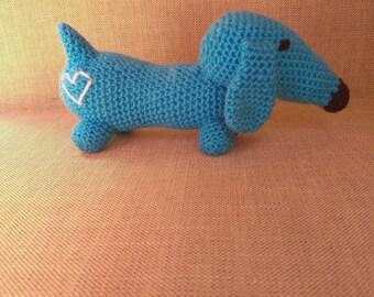 Blue Amigurumi Crocheted Dachshund Dog with White Love Heart
