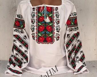 Vyshyvanka Ukrainian Embroidered Blouse , Folk Ethno Blouse, Romanian Blouse