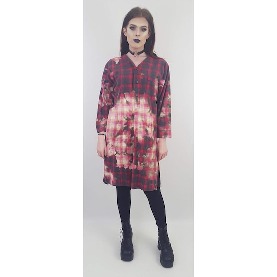90's Tie Dye Bleach Flannel Dress - Bleached Plaid Flannel Baggy Shirt - Large Tiedye Tartan Button Up Top  - Long Sleeve Grunge Midi Dress