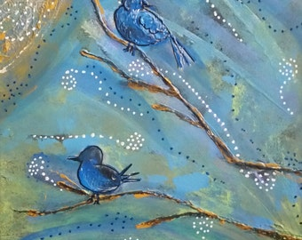 Acrylic painting, Dimensional Wall art, Home Decor, Blustery Day Birds