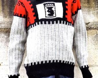 Men's sweater Pure virgin wool vintage size L, 1980s